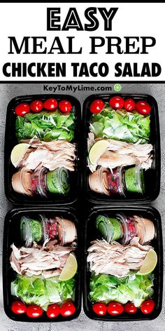 Rotisserie Chicken Taco Salad Meal Prep - Key To My Lime - Meal prep, meal prep for the week, meal prep recipes, meal prep for the week for beginners, meal pr - Easy Holiday Recipes, Healthy Recipes On A Budget, Vegetarian Recipes Dinner, Budget Meals, Dinner Recipes, Healthy Chicken Recipes For Weight Loss Clean Eating, Healthy Weight, Easy Meal Prep, Healthy Meal Prep