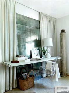 antiqued mirror, floating desk...wow! by angelique