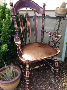 Purple cowhide chair by ROCK'N A FURNITURE.