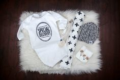 Special Delivery Baby Gown - Little Faces Apparel. Newborn gift bundle, baby boy gift ideas, baby shower boy gift, hospital bag items for baby
