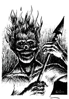 Harginn, or flame horror, an elemental grue from the Plane of Fire (Harry Quinn… Dream Fantasy, Fantasy Art, Pen And Paper Games, Nostalgia Art, Dungeon Master's Guide, Advanced Dungeons And Dragons, Dnd Art, Classic Monsters, Monster Design