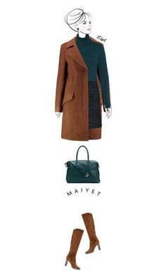 Office outfit: Green - Brown by downtownblues on Polyvore #officewear  #turtleneck  #tweedskirt  #woolcoat #satchel  #suede #Hallhuber #LoroPiana #HugoBoss