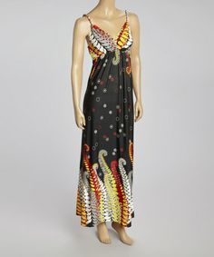 Love this Black & Yellow Paisley Sleeveless Maxi Dress - Women by Prime Garments on #zulily! #zulilyfinds