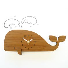 Modern Wall Clock, Whale, Bamboo, Eco Friendly