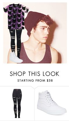 """""""*reads v intensely* -Luke"""" by weaboo-babe-rp ❤ liked on Polyvore featuring 2LUV, Vans, men's fashion and menswear"""
