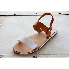 leather sandals genuine with two wide straps women's shoes summer... (€35) ❤ liked on Polyvore
