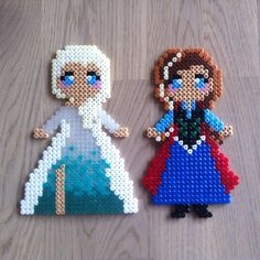 Elsa and Anna Frozen hama perler beads by pernilles4