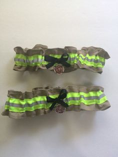 Firefighter wedding garter set of two, With optional name added to Garter, Tan