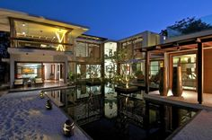 House plans courtyard for home decorating ideas with pond in the ...
