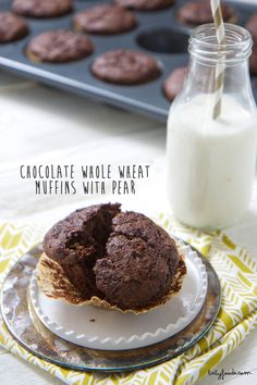 chocolate whole wheat muffins with pear babyfoode sub whole wheat flour, coconut yogurt (if ok) OR vanilla soy milk, egg, and Claire friendly chocolate chips Muffins For Mom, Pear Muffins, Whole Wheat Muffins, Healthy Muffins, Baby Food Recipes, Kid Recipes, Toddler Recipes, Muffin Recipes, Recipies