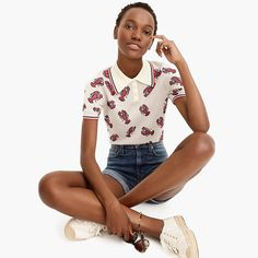 Crew for the The Reeds X J.Crew lobster polo sweater for Women. Find the best selection of Women Clothing available in-stores and online. Polo Sweater, Sweater Shop, Sweater Jacket, Summer Sweaters, Sweaters For Women, Crew Clothing, Vintage Sweaters, Sweater Weather, Cashmere Sweaters
