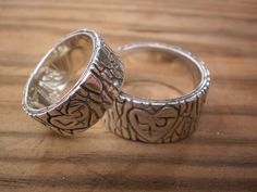 Sterling Silver His and Hers Rustic Tree Slice Wedding Bands Custom Made with Initials. $385.00, via Etsy.