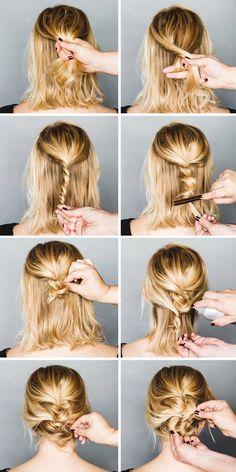 Easy Formal Hairstyles For Short Hair - Hair Styles Formal Hairstyles For Short Hair, Short Hair Ponytail, No Heat Hairstyles, Short Hair Styles Easy, Holiday Hairstyles, Pretty Hairstyles, Medium Hair Styles, Short Haircuts, Messy Updos For Short Hair