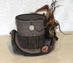 BLACK BROWN MINI TOP HAT TWEED STEAMPUNK GOTHIC BURLESQUE VINTAGE CLOCK CHARM