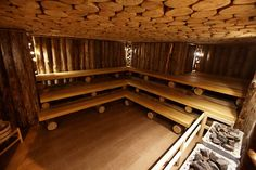 Creative Sauna Design. Perfect size for a commercial space. Makes the space look more rustic.