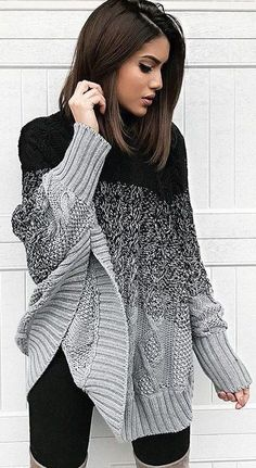 #winter #fashion / Black & Grey Wool Knit / Black Leggings