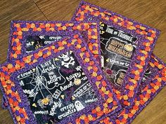 Set of 4 Square Halloween Holiday Placemats by LightsideCreations