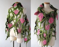 Nuno felted scarf vest white green pink flower by galafilc