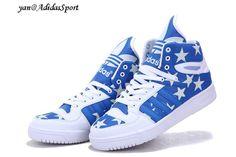 Adidas Originals Jeremy Scott grande de la lengua Estrellas Glow In The Dark Azul Real/Blanco Venta Outlet