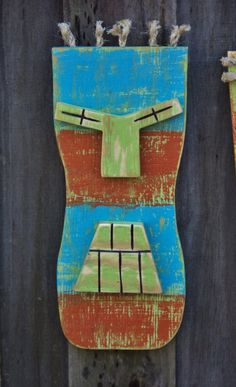 """Bot"" Tiki Man, Tiki Mask, Wall Hanging, Wood Sculpture"