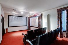 Home tv movie theater entertainment room interior with real cinema chairs. Home Cinema Room, Home Theater Rooms, Home Theater Design, Home Theater Seating, Best Home Theater Projector, Home Theater Speakers, Small Home Theaters, Home Tv, Home Cinemas