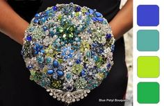 Cascading brooch bouquet in Cobalt, Teal, Lime, Emerald