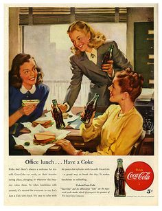 Threesome For Coke It's Cokes all around for this lovely trio of office workers. vintage ad for soda pop,Coke cola Cokes all around for this lovely trio of office workers. vintage ad for soda pop,Coke cola Coke Ad, Coca Cola Ad, World Of Coca Cola, Pepsi, Retro Ads, Vintage Advertisements, Vintage Ads, Retro Advertising, Vintage Signs