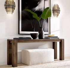 Reclaimed Russian Oak Parsons Console Table - All About Decoration Living Room Designs, Living Room Decor, Home Interior Design, Interior Decorating, Entryway Decor, Modern Entryway, Foyer, Hallway Table Decor, Entrance Table