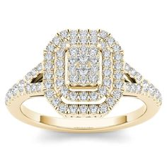 De Couer 10k Yellow Gold 1/2ct TDW Diamond Cluster Double Frame Engagement Ring (H-I,I2) (Size-9), Women's, Size: 9