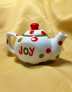 Joy Christmas Teapot by danettetaylor on Etsy, $15.00