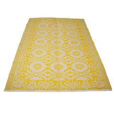 Plastic vloerkleed geel-wit achterkant