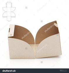 Empty Open Cube Box With Die Cut Template Stock Photo 336113132 : Shutterstock