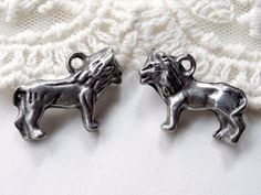 6 Small Silver Metal Zoo Animal 3D Lion Charms Diy by BuyDiy, $3.99