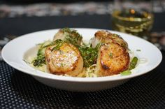 Grilled Scallops & Asparagus with Capelli d'angelo & Orange Butter Cream Sauce