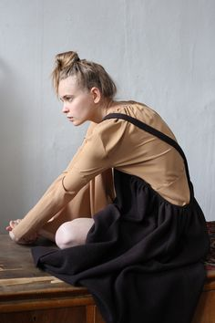 Dress in silk and sarafan in wool by Masha Andrianova. Picture by Olya Ivanova. Model Paulina