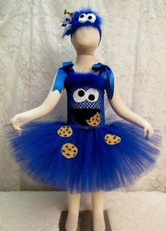 Fits 24 mo  4T Cookie Monster Tutu Dress & Matching by cd1ofakind