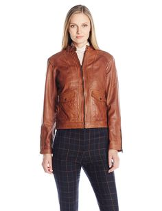 Bernardo Women's Sheep Kerwin Leather Jacket, Carmel, M. Authentic leather. Stand collar with snap closure. Front pockets with flap. Gunmetal trims. Expandable cuffs with side zips.