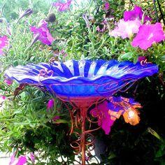 DAD Garden Gift, stained glass BIRD BATH, copper art, Cobalt Blue, Housewares, Outdoor, Garden Art. $60.00, via Etsy.