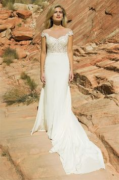 Silhouette: MermaidNeckline: Illusion off shoulderBack: V Back with zip button closureFabric: Silk stretch georgette, illusion flesh tulle and luxury lace Stunning Wedding Dresses, Lace Bodice, Bridal Boutique, Bridal Style, Bridal Gowns, Bride, Ivory, Bridal Shops, Luxury