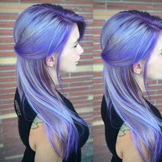 Periwinkle Blue and purple hair color melt by Liz Robson. Hair painting. Blue highlights hotonbeauty.com