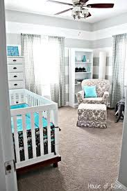 grey and white striped nursery with blue accents.. i adore this!