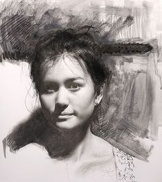 """""""Zoe"""" charcoal on paper, 25x19in. I am loving the new liquid charcoal by @nitramcharcoal #art #onpaper #portraiture #sculptor @saypience… Portrait Sketches, Portrait Art, Drawing Sketches, Figure Drawing, Painting & Drawing, Cesar Santos, Academic Drawing, Charcoal Portraits, Sketch Inspiration"""