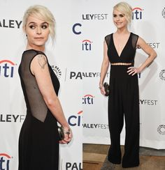 """Taryn Manning got in on the fishnet trend by wearing a Gemy Maalouf jumpsuit with an asymmetrical back cutout at a panel for her show """"Orange Is the New Black"""" during PaleyFest 2014 in Los Angeles."""