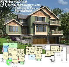 Elegant Architectural Designs House Plan Is Perfect For Your Front Sloping Lot. Of  Living And Decks On Two Levels. Design