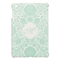 Seafoam Green Retro Floral Damask with Monogram Cover For The iPad Mini. By JoyMerrymanStore.