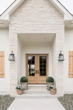 Modern Farmhouse Exterior Ideas and Inspiration | Hunker Modern Farmhouse Exterior, Modern Farmhouse Style, Farmhouse Ideas, Apartment Decoration, Dream House Exterior, Entry Doors, Entryway, My Dream Home, Exterior Design