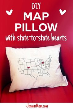 Learn how to make your own state-to-state DIY map pillow with hearts for a long-distance loved one, faraway friend, or to celebrate a trip! Easy Sewing Projects, Diy Craft Projects, Craft Tutorials, Sewing Tutorials, Sewing Crafts, Sewing Ideas, Project Ideas, Homemade Gifts, Diy Gifts