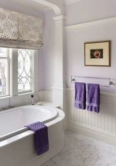 Check Out 17 Lavender Bathroom Design Ideas You'll Love. I really can't think of a better place to decorate with lavender than your bathroom. Lavender Bathroom, Purple Bathrooms, Bathroom Colors, White Bathroom, Small Bathroom, Master Bathroom, Bathroom Ideas, Bathroom Inspiration, Eclectic Bathroom