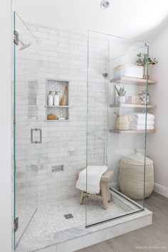 Glass Shower Enclosures, Frameless Glass Shower Doors, Bathroom Renos, Remodel Bathroom, Bench In Bathroom, Small Shower Remodel, Condo Bathroom, Basement Bathroom, Bedroom In Basement Ideas