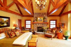 Log Home Master Suite Addition - rustic - Bedroom - Detroit - Town and Country Interiors Master Bedroom Addition, Rustic Master Bedroom, Bedroom Decor, Bedroom Ideas, Cozy Bedroom, Master Bedrooms, Bedroom Fireplace, Home Additions, Country Decor